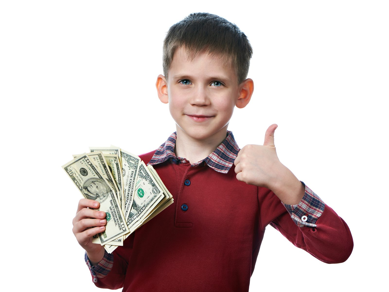 Happy Little Boy With Dollar Bills In His Hands Isolated